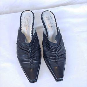Jessica Simpson Black Pointed Toe Slip On Heels